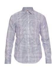 Burberry Melthorpe Checked Cotton Poplin Shirt Blue