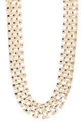 Amrita Singh Metal Woven Bib Necklace Metallic