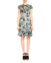 Erdem Daina Floral Fit And Flare Dress Light Blue Green