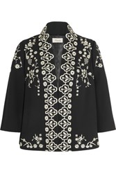 Temperley London Lettie Embroidered Crepe Jacket Black