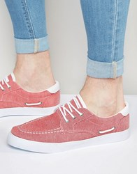 Asos Boat Shoes In Red Chambray Red
