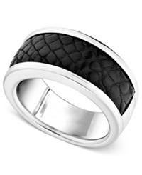 Macy's Men's Sterling Silver Ring Black Alligator Inlay Band