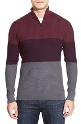 Men's Bugatchi Colorblock Quarter Zip Wool Sweater