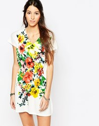 Pussycat London Sun Dress With Floral Placement Print White