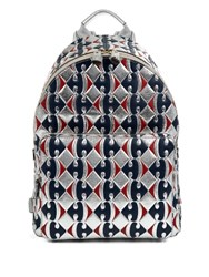 Anya Hindmarch Abstract Embossed Leather Backapck Blue Silver