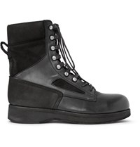 Sacai Hender Scheme Panelled Distressed Suede And Leather Boots Black