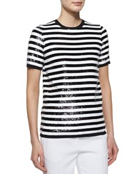Michael Kors Collection Allover Sequin Striped Tee Women's Size M Black White