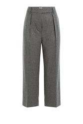 Brunello Cucinelli Cotton Wool Blend Wide Leg Cropped Pants Grey