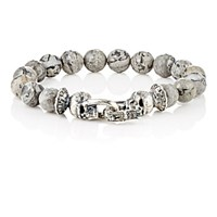 Emanuele Bicocchi Men's Jasper Beaded Bracelet With Skull Clasp No Color