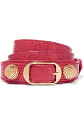 Balenciaga Giant Triple Tour Textured Leather And Gold Tone Bracelet