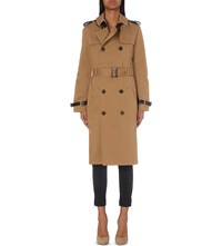 The Kooples Double Breasted Stretch Cotton Trench Coat Camel
