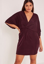 Missguided Purple Plus Size Slinky Kimono Mini Dress Plum