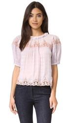 Rebecca Taylor Short Sleeve Clip Mix Top Violet Haze