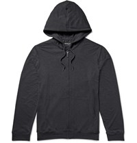 Derek Rose Marlowe Stretch Micro Modal Jersey Zip Up Hoodie Gray