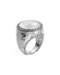 John Hardy Sterling Silver Palu Large Oval Ring With Moon Quartz Silver Blue