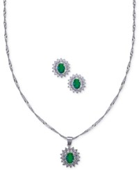 Nina Silver Tone Stone And Crystal Pendant Necklace With Matching Stud Earrings Green