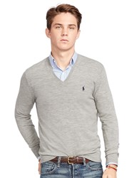 Polo Ralph Lauren Slim Fit V Neck Jumper Fawn Grey Heather