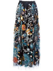 Valentino Embroidered Universe Maxi Skirt Black