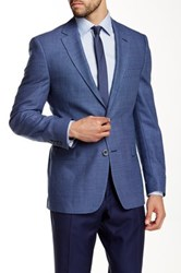 Ike Behar Pandora Patterned Two Button Notch Lapel Wool Sportcoat Blue