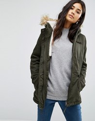 Only Short Parka With Faux Fur Hood Peat Green