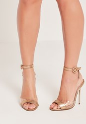 Missguided Perspex Vamp And Wrap Around Barely There Gold Rose