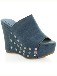 Daniel Burbank Wedge Peep Toe Mules Blue