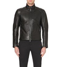 Ralph Lauren Black Label Zepto Leather Biker Jacket Black