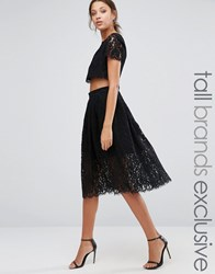 True Decadence Tall 2 In 1 Allover Lace Full Prom Skater Dress Black
