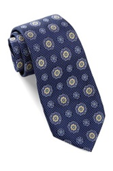 Alara Silk Textured Floral Medallion Tie Blue