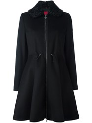 Moncler Gamme Rouge Flared Hooded Coat Black