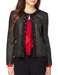 Tahari By Arthur S. Levine Beaded Frame Open Jacket Black Silver