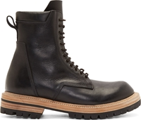 Rick Owens Black Leather Lug Sole Combat Boots