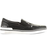 Moschino Embroidered Slip On Trainers Blk White