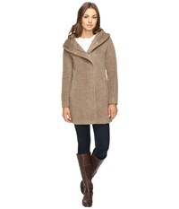 Cole Haan Hooded Italian Alpaca Wool Coat Maple Sugar Women's Coat Taupe
