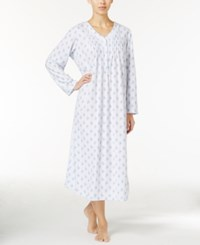Miss Elaine Floral Print Honeycomb Knit Nightgown Blue Floral