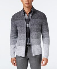 Alfani Men's Ombre Striped Sweater Jacket Only At Macy's Deep Black Combo