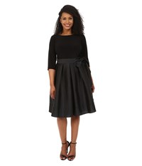 Adrianna Papell Plus Size Taffeta Twofer Fit And Flare Black Women's Dress