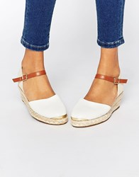 Miss Kg Lea Espadrille Wedges White Synthetic