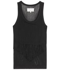 Maison Martin Margiela Fringed Cotton Mesh Tank Top Black