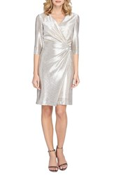 Tahari Women's Ruched Metallic Knit Sheath Dress