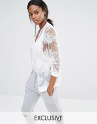Missguided Exclusive Embroidered Mesh Bomber Jacket Cream