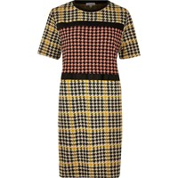 River Island Womens Yellow Block Dogtooth Print Dress