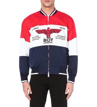 Boy London Logo Print Shell Jacket Red White Black