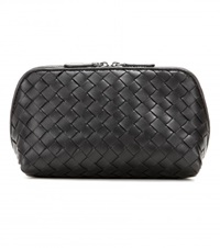 Bottega Veneta Intrecciato Leather Cosmetic Case Black