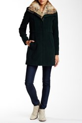 Andrew Marc New York Haven Faux Fur Trimmed Jacket Green