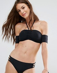 Noisy May Tan Lines Black Bardot Bikini Top Black