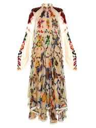 Chloe Ink Blot Print High Neck Gown Nude Multi