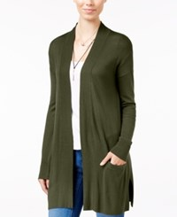 Hippie Rose Juniors' Open Front Cardigan Olive Branch