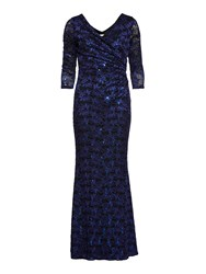 Gina Bacconi Royal Black Sequin Leaf Lace Maxi Dress Blue