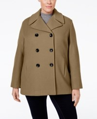Calvin Klein Plus Size Wool Cashmere Double Breasted Peacoat Camel